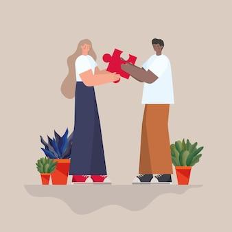 Mann und frau mit rotem puzzleteil und pflanzen