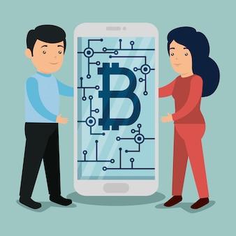 Mann und frau mit smartphone mit bitcoin-symbol