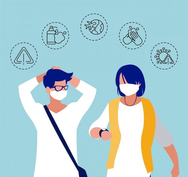 Mann und frau mit symbolen des coronavirus-schutzes und der symptome