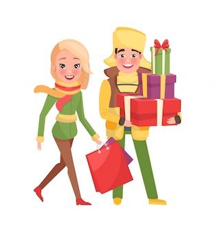 Mann und frau mit taschen lokalisierten vektor-frohen weihnachten