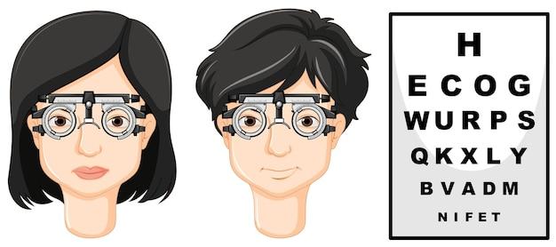 Mann und frau mit testbrille