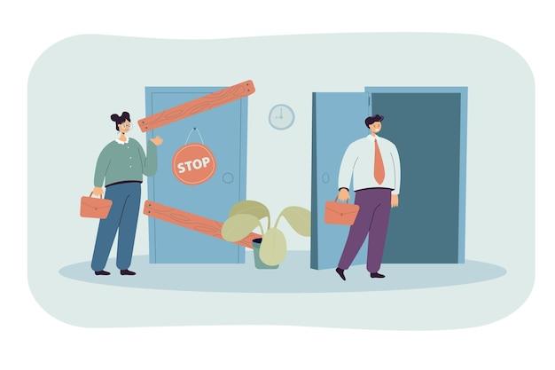Mann und frau mit unterschiedlichen geschäftsmöglichkeiten isolierten flache illustration
