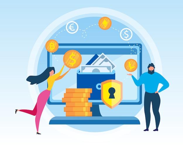 Mann und frau mit virtueller geldbörse.