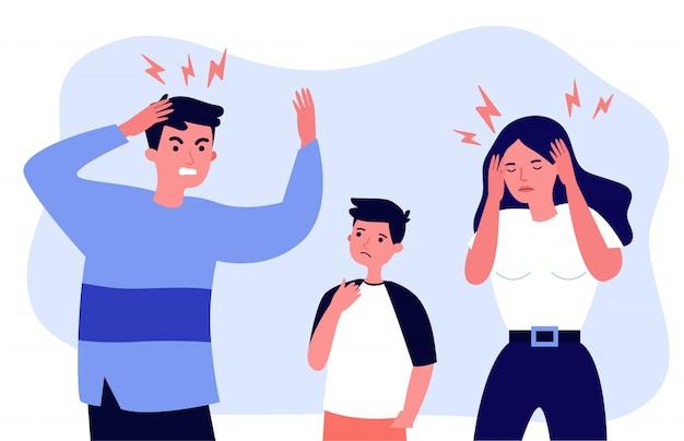 Mann und frau müde von migräne