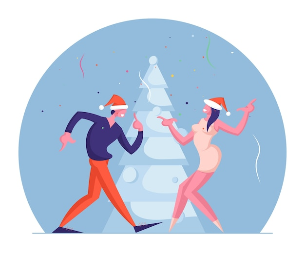 Mann und frau paar, das spaß am neujahrsfeiertagsereignis hat