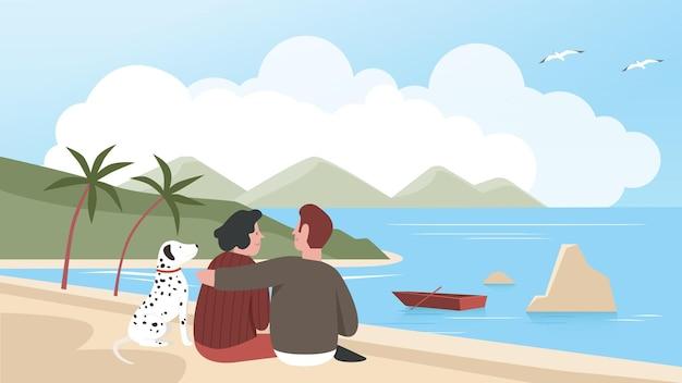 Mann und frau paar verbringen zeit mit haustier am meeresstrand zusammen, entspannen mit eigenem hund draußen, liebevolle haustiere vektor-illustration