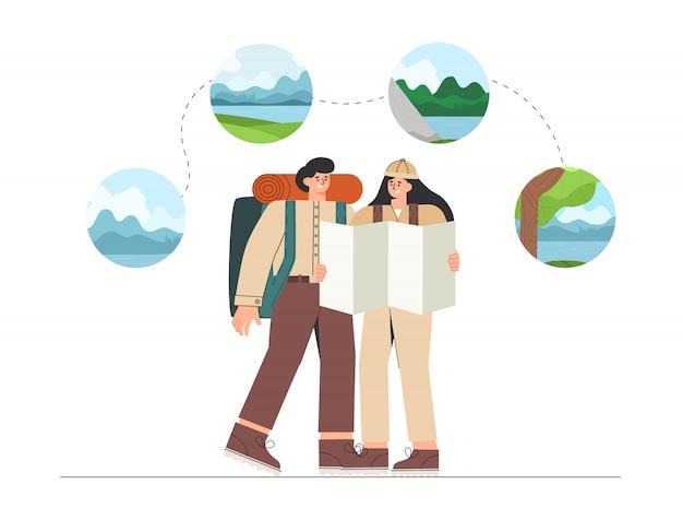 Mann und frau planen eine reise, halten eine karte in der hand und schauen sich verschiedene möglichkeiten an, auf den feldern zu wandern, einen berg zu besteigen oder zum see zu gehen.