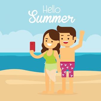 Mann und frau reisen in den sommerferien