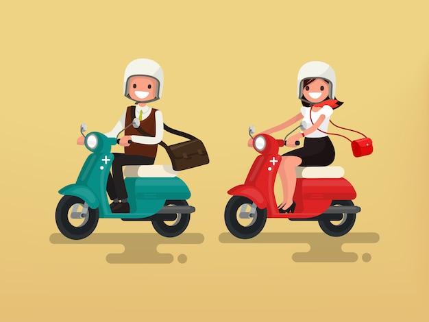Mann und frau reiten auf ihren motorradillustrationen