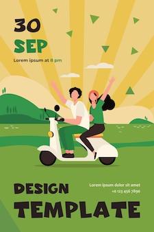 Mann und frau reiten moped nahe fluss. reise, natur. flat flyer vorlage