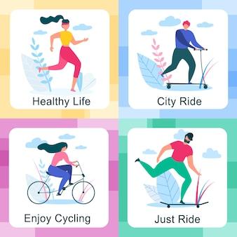 Mann und frau reiten oder radfahren in verschiedenen szenen