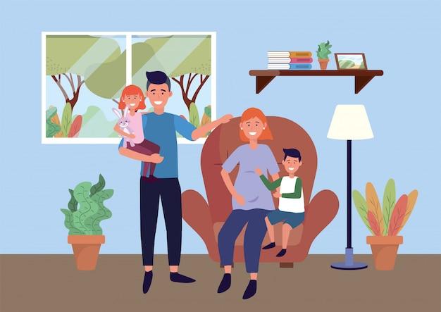 Mann und frau schwanger auf dem stuhl mit kindern