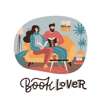 Mann und frau sitzen auf gelbem sofa, lesen bücher und trinken tee, paar zu hause.