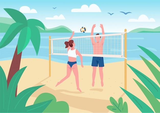 Mann und frau spielen beachvolleyball flache farbillustration