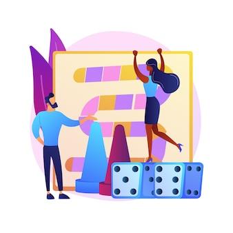 Mann und frau spielen brettspiel. freizeit zu hause, häusliche unterhaltung, indoor-freizeitaktivitäten. freundlicher wettbewerb, freunde spielen zusammen.