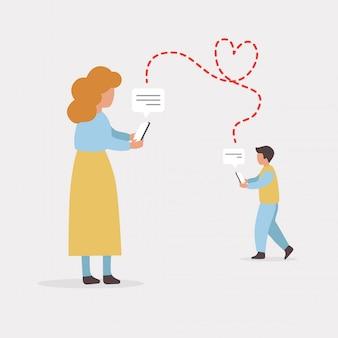 Mann und frau sprechen über liebeskonzeptillustration. kommunikation in sozialen netzwerken. dating app. virtuelle beziehung.
