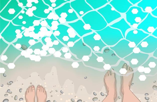 Mann und frau stehen meerwassersommer