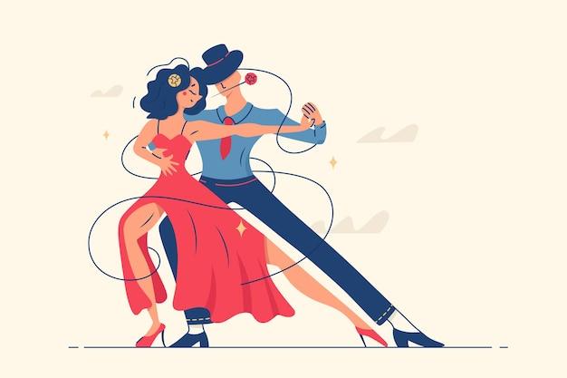 Mann und frau tanzen romantischen tango