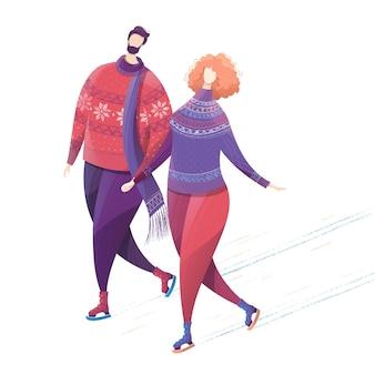 Mann und frau tragen winterkleidung