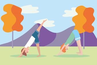 Mann und Frau üben Yoga-Position
