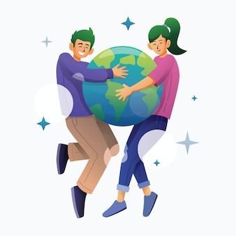 Mann und frau umarmen die welt zusammen