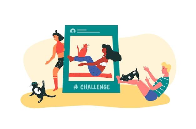 Mann und frau versuchen, fitness-herausforderung mit ihren haustieren zu wiederholen. yoga und pilates influencer trainer.