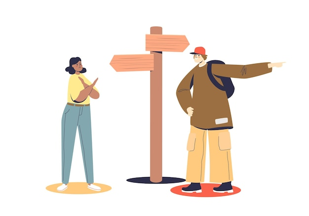 Mann und frau wählen richtung, die auf kreuzung mit pfeilen auf straßenschild steht. falsches entscheidungskonzept.