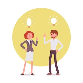 Mann und frau zeigen auf die lampe, idee