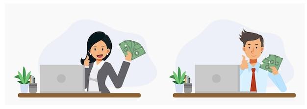 Mann und frau zeigen bargeld in dollar und daumen hoch. geld verdienen online-konzept, erfolg. flache vektor-cartoon-charakter-illustration.