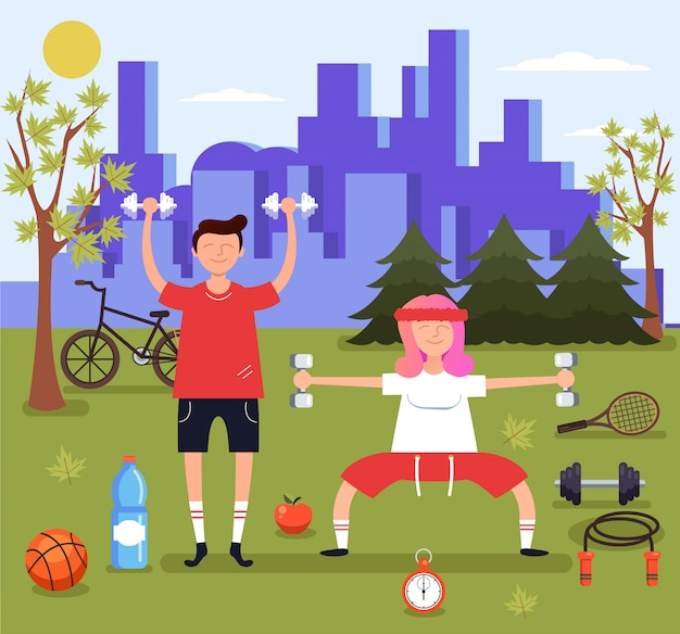 Mann- und frauenpaarcharaktere, die sport im park tun