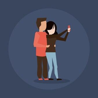 Mann- und frauenpaare, die selfie nehmen