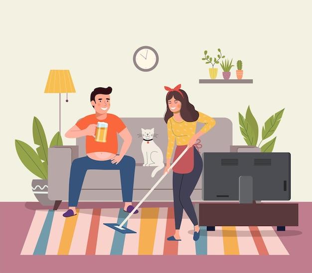 Mann und katze sitzen auf sofa und sehen fern, junge frau mit mopp im wohnzimmer