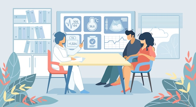 Mann und schwangere frau, die an doktor cabinet sitzen