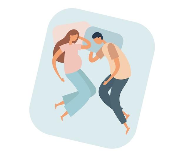 Mann und schwangere frau, die auf bett schlafen. illustration