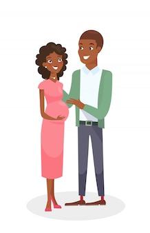 Mann und schwangere hübsche frau. glückliche junge familie im karikaturstil auf weißem hintergrund.
