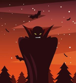 Mann verkleidet vom vampir in der szene von halloween