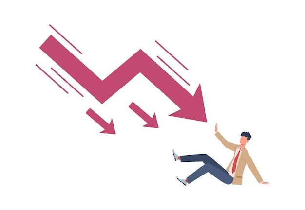 Mann versucht, den fallenden pfeil zu stoppen. unbezahlte kreditschulden wirtschaftskrise und rezession, sinkendes geschäft und konkurs, zusammenbruch des unternehmensstarts, finanz- und geldprobleme konzept vektor flache illustration