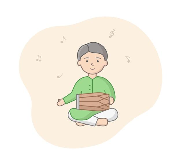Mann von indien im grünen traditionellen outfit, das tabla spielt. männlicher charakter, der musik unter verwendung der braunen indischen trommel macht. vektorkarikaturartzusammensetzung mit linearen umrissobjekten. musiknoten herumfliegen.