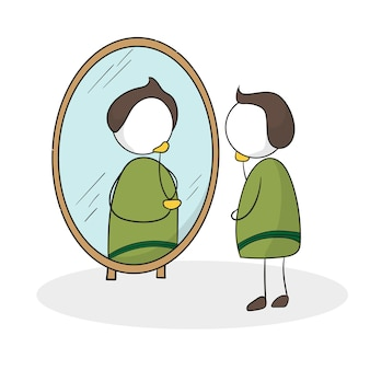 Mann vor dem spiegel. sich selbst in den spiegel schauen. mann überprüft sein aussehen im spiegel