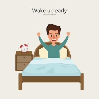 Mann wacht morgens im schlafzimmer auf