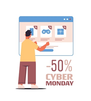 Mann wählt einkäufe im webbrowser-fenster online-shopping cyber montag verkauf urlaub rabatte e-commerce-konzept