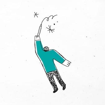 Mann zeichnet sternkarikatur
