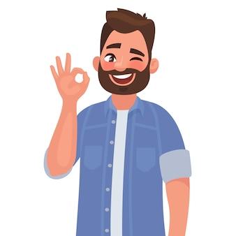 Mann zeigt eine geste okay, ok. im cartoon-stil