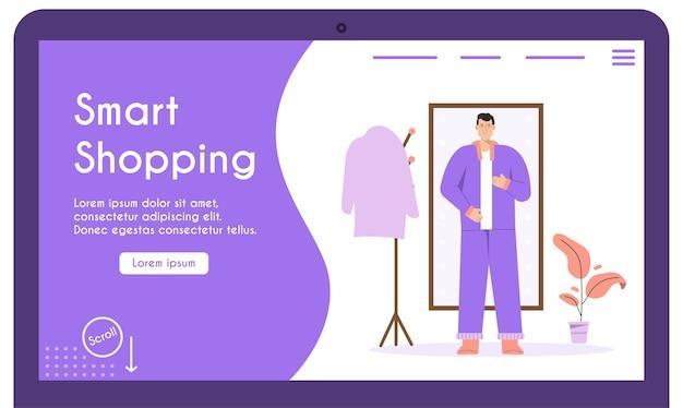 Mann zieht sich vor ganzkörperspiegel an, passt online und wählt stilvolles outfit.