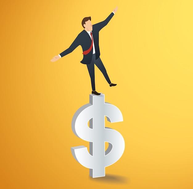 Mann zu fuß im gleichgewicht auf dollar-symbol