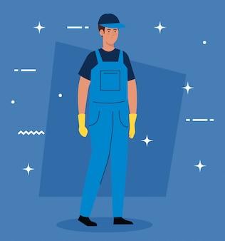 Mannarbeiter des reinigungsdienstes, auf blauem illustrationsentwurf Premium Vektoren