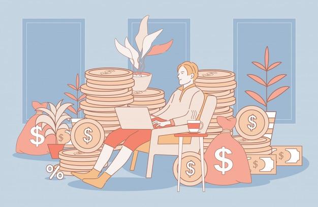 Mannarbeitsabstand mit laptopkarikatur-umrissillustration. finanzerfolg bei der arbeit konzept.