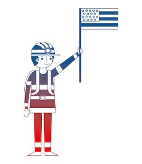 Mannbergmann im sturzhelm, der arbeitstag der amerikanischen flagge hält