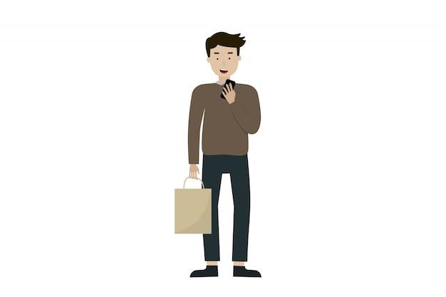 Mannblick auf einen handy mit einkaufstasche