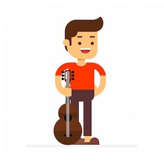 Manncharakter-avatarikone mit gitarre